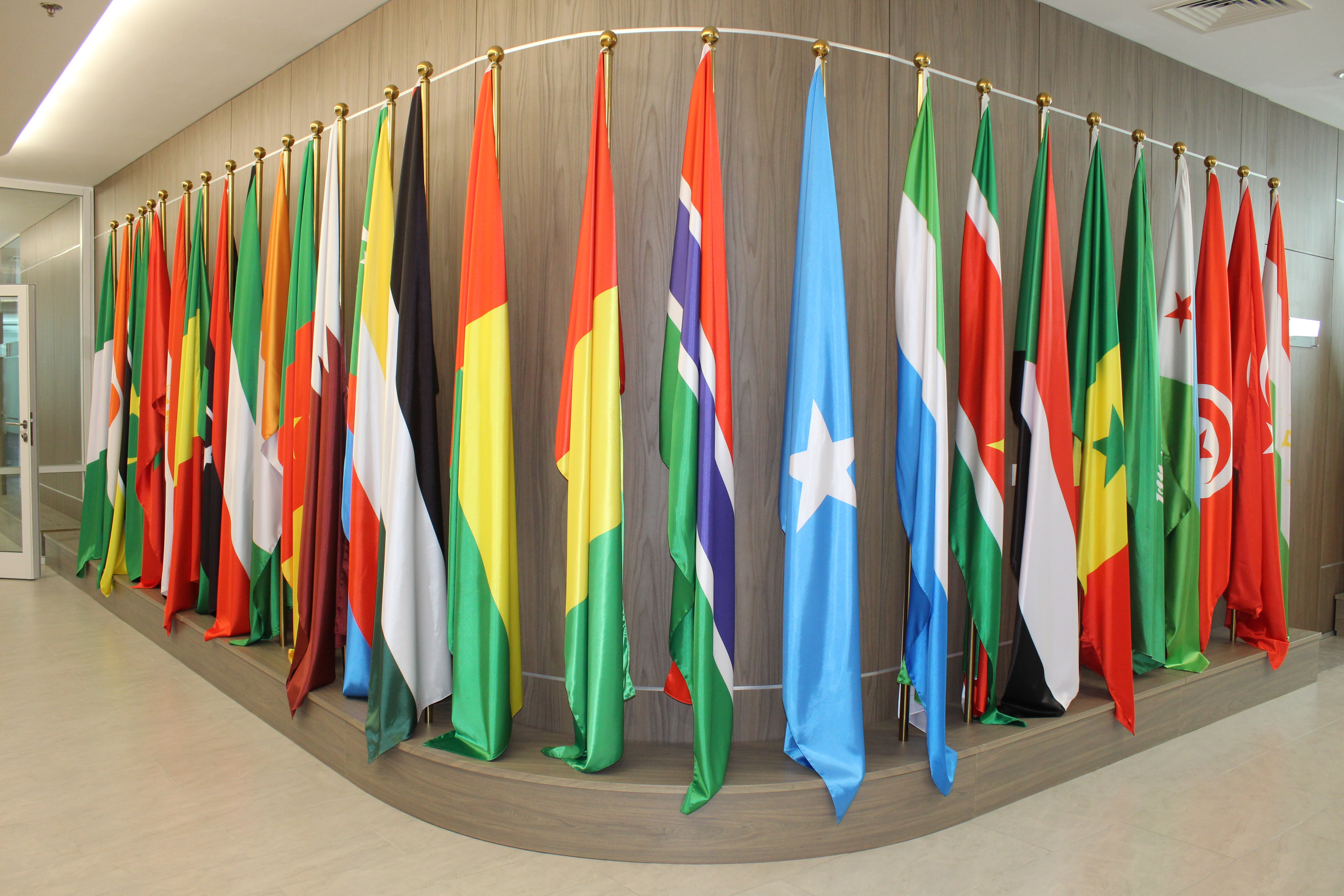Flags of the member states of the Islamic Organization for Food Security at the Nur Sultan, Kazakhstan, office